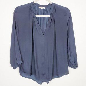Current Air V-neck Smocked Navy Flowy Blouse